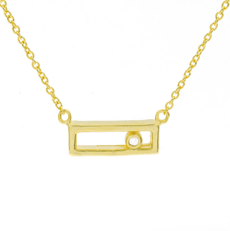 ZDN162-G STERLING SILVER 925 GOLD PLATED FINISH RECTANGLE PLAIN SILVER NECKLACE