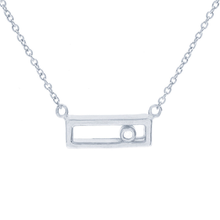 ZDN162 STERLING SILVER 925 RHODIUM PLATED FINISH RECTANGLE PLAIN SILVER NECKLACE