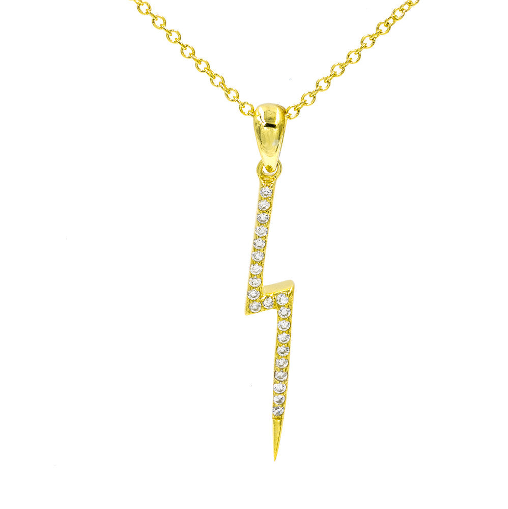 ZDN164-G STERLING SILVER 925 GOLD PLATED FINISH LIGHTING DESIGN CUBIC ZIRCONIA NECKLACE