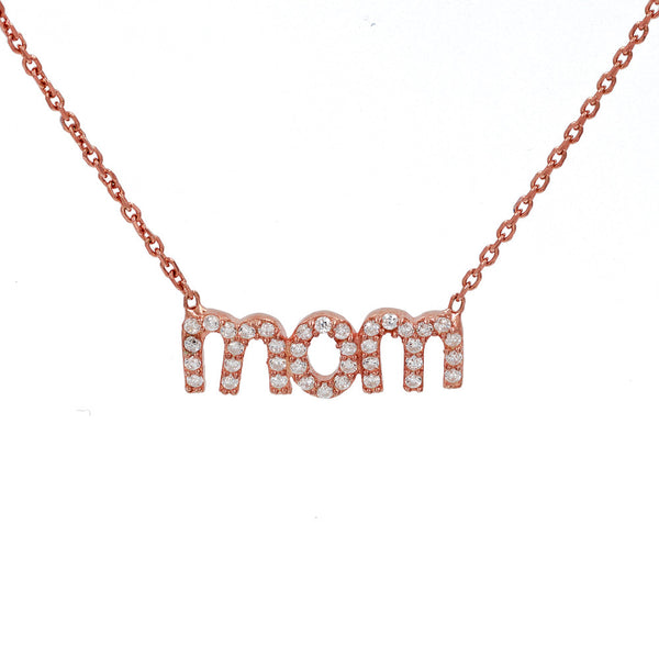 ZDN1760-R STERLING SILVER 925 ROSE GOLD PLATED FINISH ''MOM'' DESIGN CUBIC ZIRCONIA NECKLACE