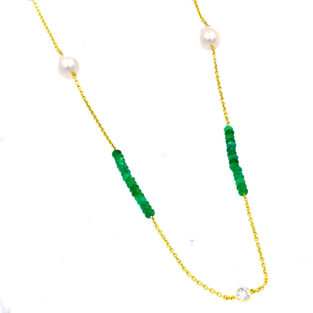 ZDN1860-GRN STERLING SILVER 925 GOLD PLATED PEARL / JADE WITH 5MM BEZEL CZ BY THE YARD NECKLACE 42""