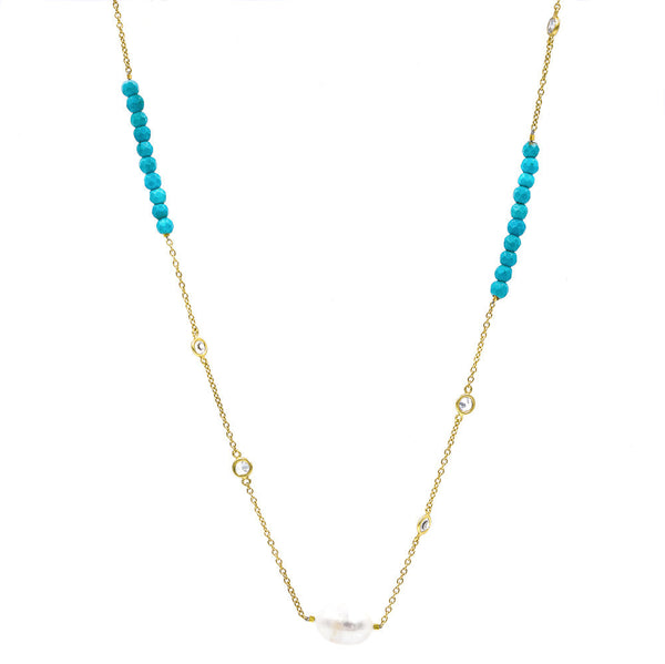 ZDN1860-TRQ STERLING SILVER 925 GOLD PLATED PEARL / JADE WITH 5MM BEZEL CZ BY THE YARD NECKLACE 42""