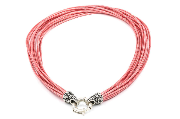 ZDN1969-CORAL WAX CORD WITH 925 STERLING SILVER END-TIPS