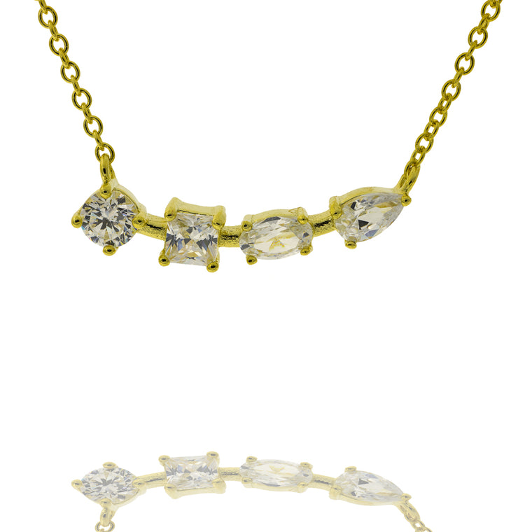 ZDN199-G STERLING SILVER 925 GOLD PLATED FINISH CUBIC ZIRCONIA NECKLACE