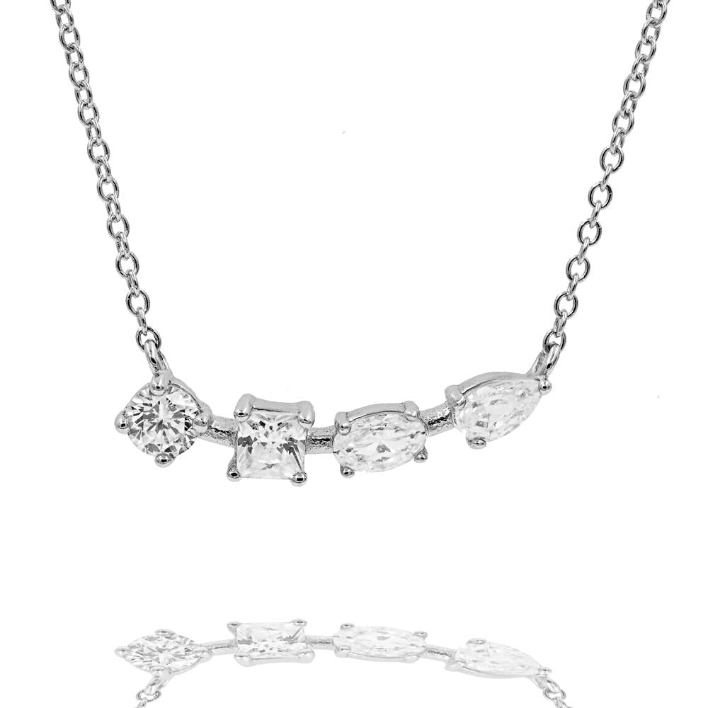 ZDN199 STERLING SILVER 925 RHODIUM PLATED FINISH CUBIC ZIRCONIA NECKLACE
