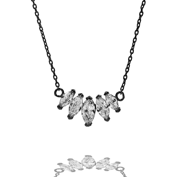 ZDN208-B STERLING SILVER 925 BLACK RHODIUM PLATED FINISH CUBIC ZIRCONIA NECKLACE