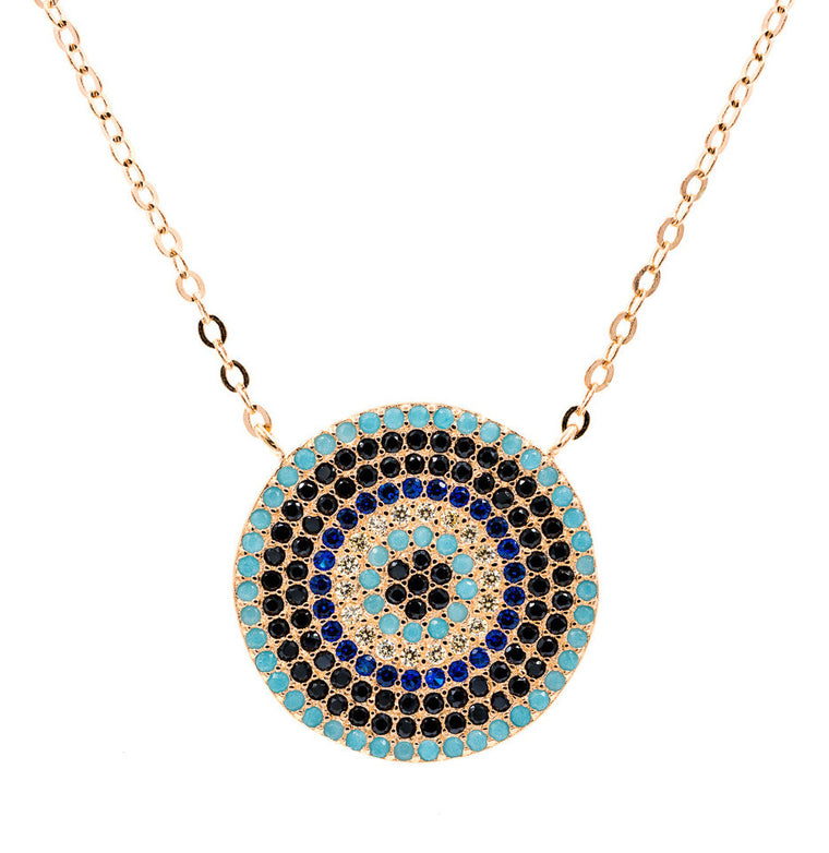ZDN213-RG STERLING SILVER 925 ROSE GOLD PLATED FINISH 19MM ROUND  EVIL EYE NECKLACE 16