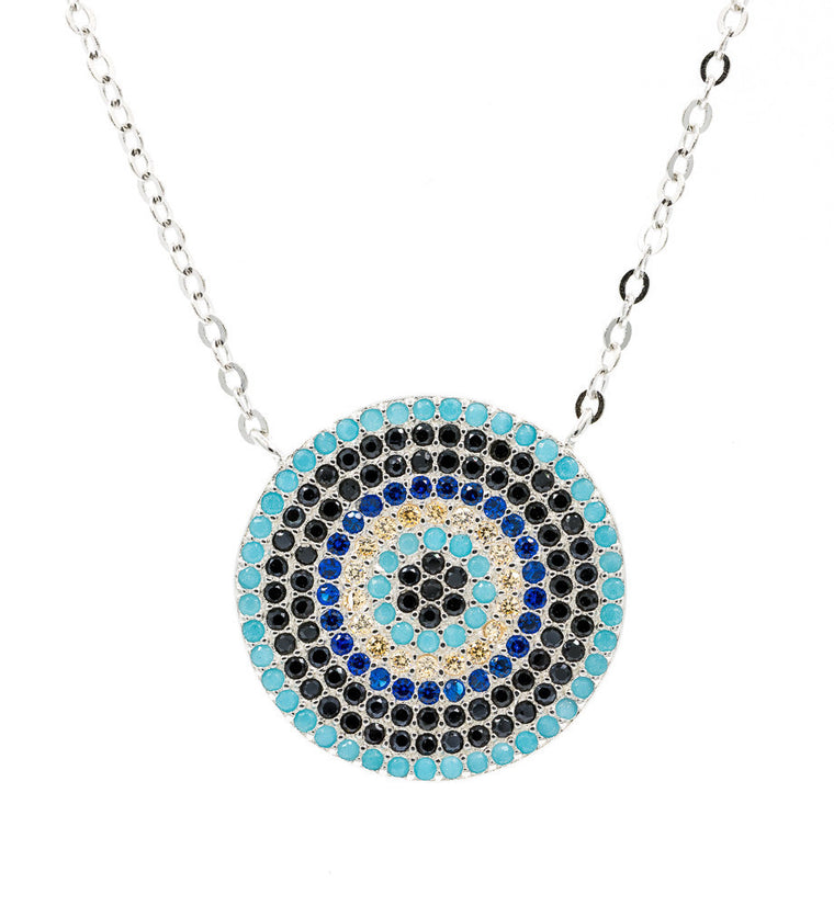ZDN213 STERLING SILVER 925 RHODIUM PLATED FINISH  19MM ROUND  EVIL EYE NECKLACE 16