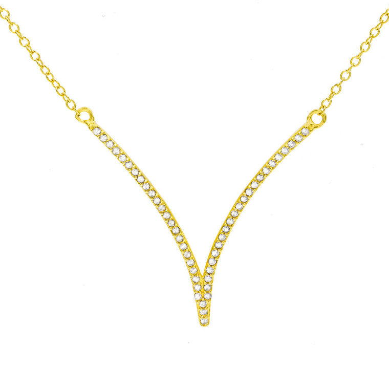 ZDN268-G STERLING SILVER 925 GOLD PLATED FINISH '' V '' DESIGN CUBIC ZIRCONIA NECKLACE