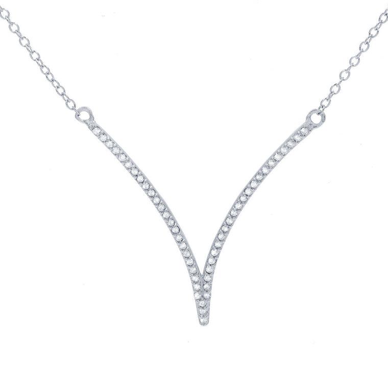 ZDN268 STERLING SILVER 925 RHODIUM PLATED FINISH '' V '' DESIGN CUBIC ZIRCONIA NECKLACE