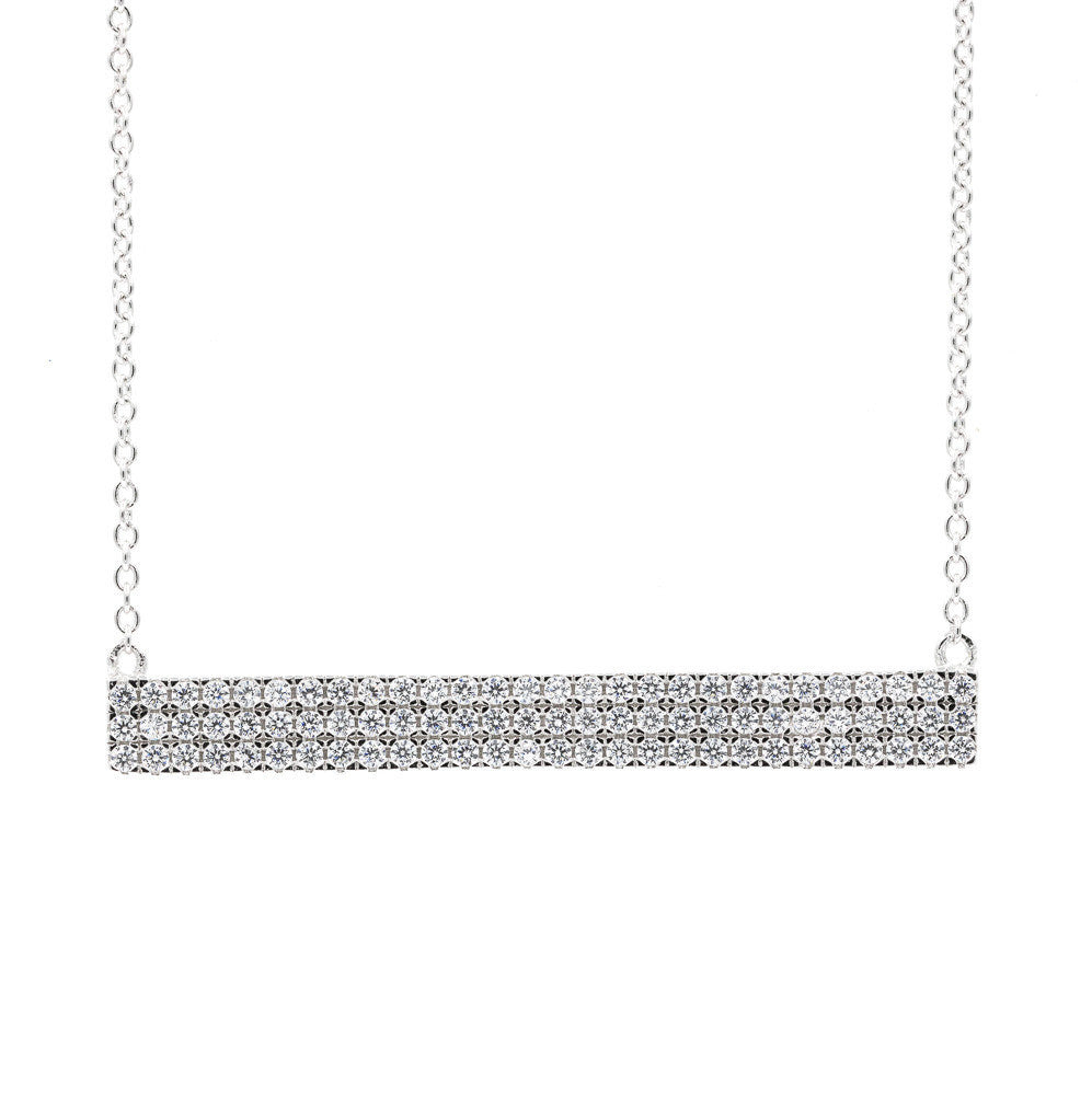 ZDN2780 STERLING SILVER 925 RHODIUM PLATED FINISH CZ BAR DESIGN NECKLACE