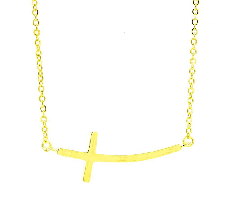 ZDN3703-G STERLING SILVER 925 GOLD PLATED FINISH PLAIN SIDE CROSS NECKLACE