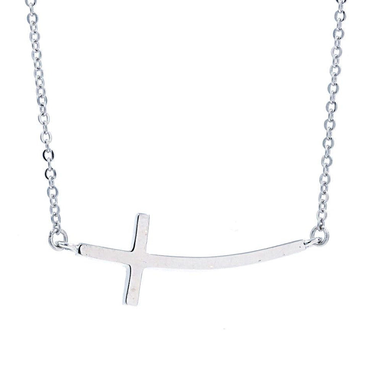 ZDN3703 STERLING SILVER 925 RHODIUM PLATED FINISH PLAIN SIDE CROSS NECKLACE