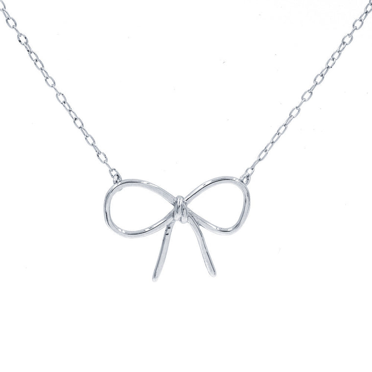ZDN5587  STERLING SILVER 925 RHODIUM PLATED '' BOW '' DESIGN PLAIN NECKLACE