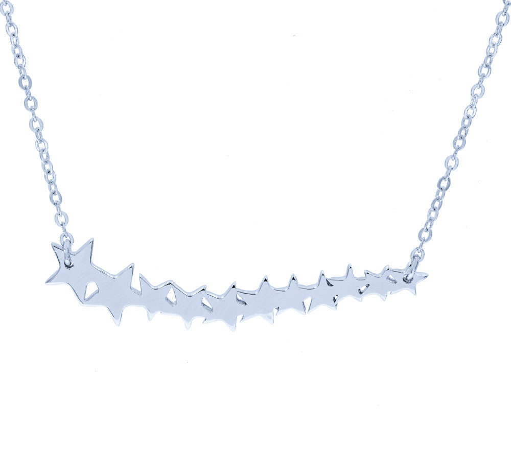 ZDN86 STERLING SILVER 925 RHODIUM PLATED FINISH '' STARS '' DESIGN PLAIN NECKLACE