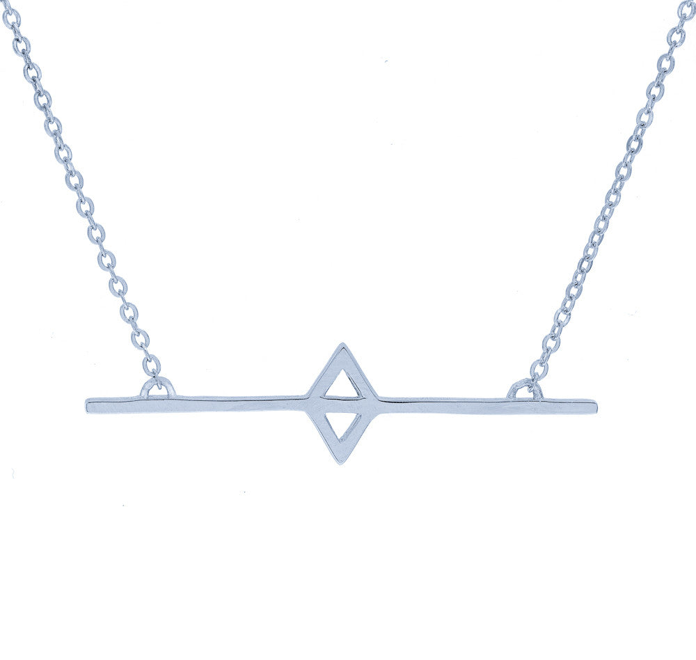 ZDN89 STERLING SILVER 925 RHODIUM PLATED FINISH '' BAR '' DESIGN PLAIN NECKLACE