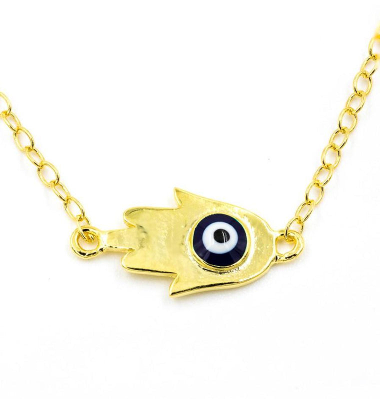 ZDN892-GD STERLING SILVER 925 GOLD PLATED FINISH EVIL EYE HAMSA NECKLACE