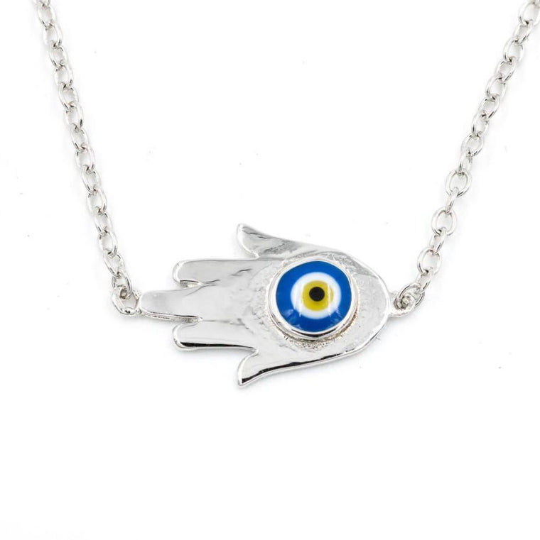 ZDN892 STERLING SILVER 925 RHODIUM PLATED FINISH EVIL EYE HAMSA NECKLACE
