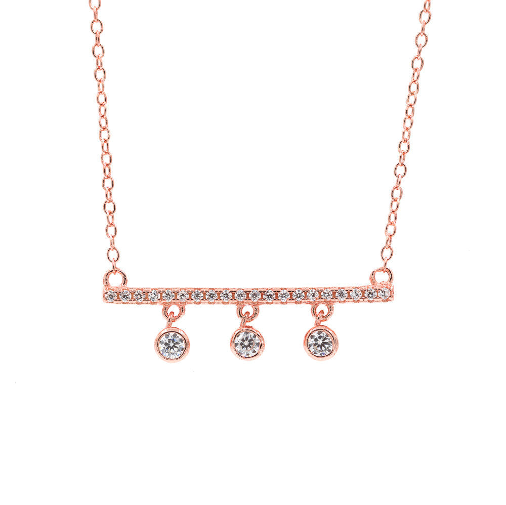 ZDN9052-RG STERLING SILVER 925 ROSE GOLD PLATED FINISH CZ DROP BAR DESIGN CZ NECKLACE