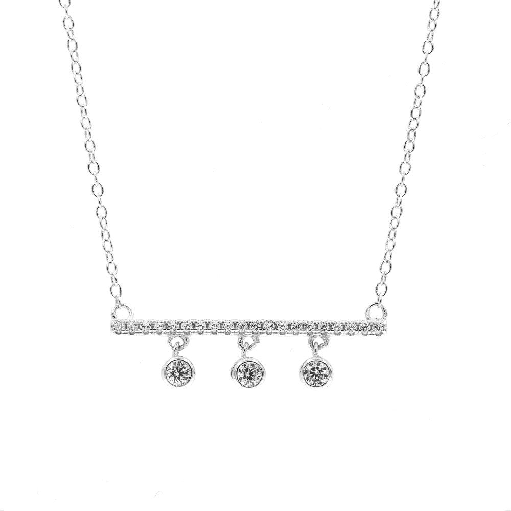 ZDN9052 STERLING SILVER 925 RHODIUM PLATE FINISH CZ DROP BAR DESIGN CZ NECKLACE