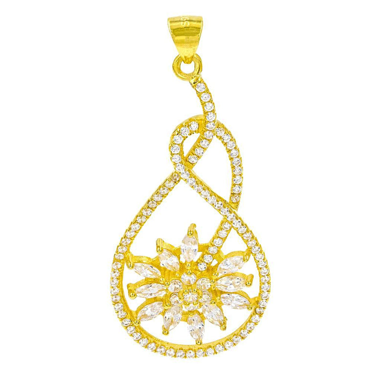 ZDN9061-G STERLING SILVER 925 GOLD PLATED FLOWER CLEAR WHITE CZ PENDANT