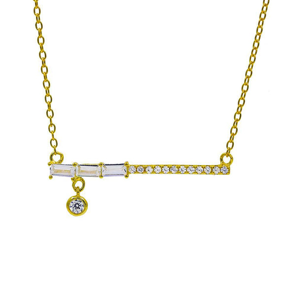 ZDN9073-G STERLING SILVER 925 GOLD PLATED FINISH TEARDROP BAR DESIGN CZ NECKLACE