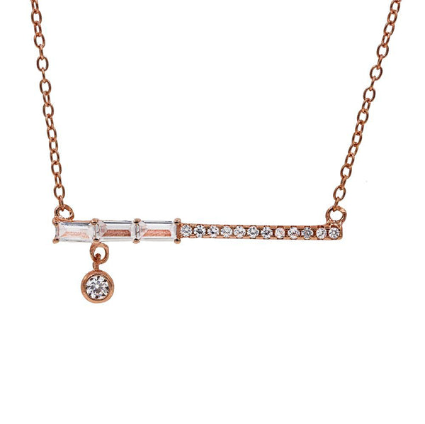 ZDN9073-RG STERLING SILVER 925 ROSE GOLD PLATED FINISH TEARDROP BAR DESIGN CZ NECKLACE