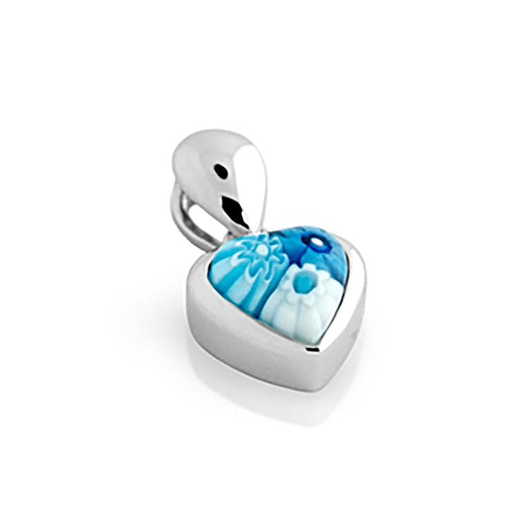 ZDP1013 LIGHT BLUE MILLEFIORI SMALL HEART PENDANT
