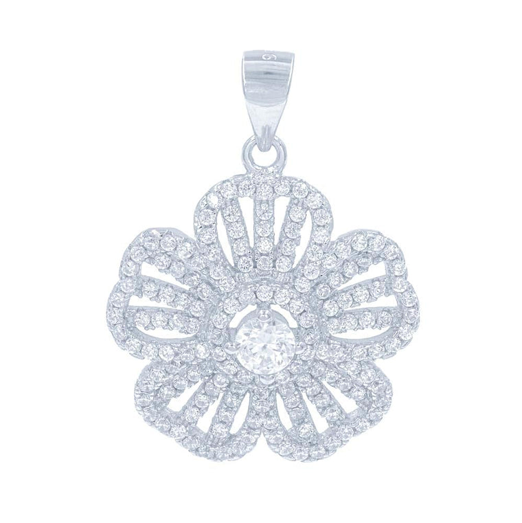 ZDP1459 STERLING SILVER 925 RHODIUM PLATED FINISH FLOWER DESIGN WHITE CZ PENDANT