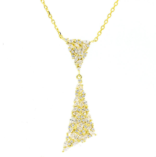 ZDN1987-G STERLING SILVER 925 GOLD PLATED FINISH ELEGANT DROP CZ NECKLACE
