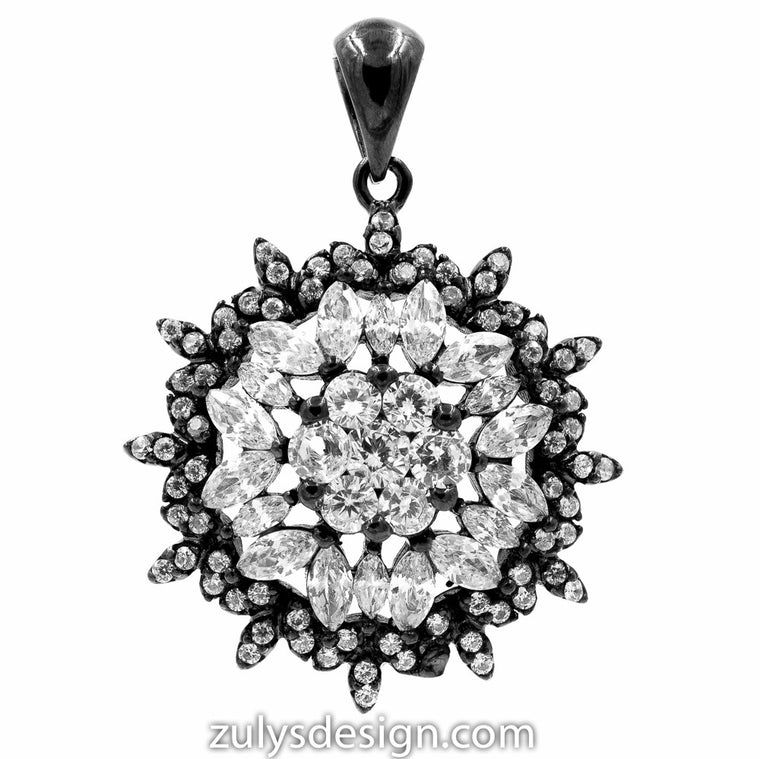 ZDP2114-BLK STERLING SILVER 925 BLACK RHODIUM PLATED FLOWER DESIGN WHITE CZ PENDANT