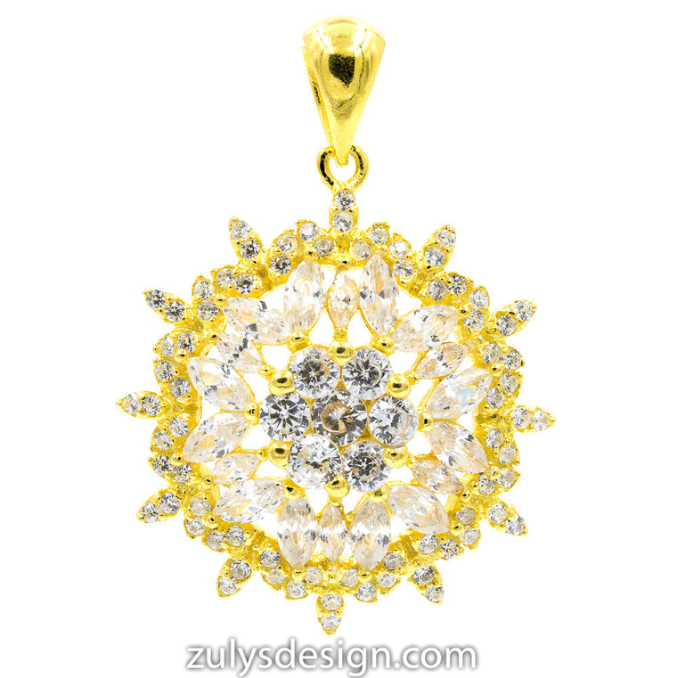 ZDP2114-G STERLING SILVER 925 GOLD PLATED FLOWER DESIGN WHITE CZ PENDANT