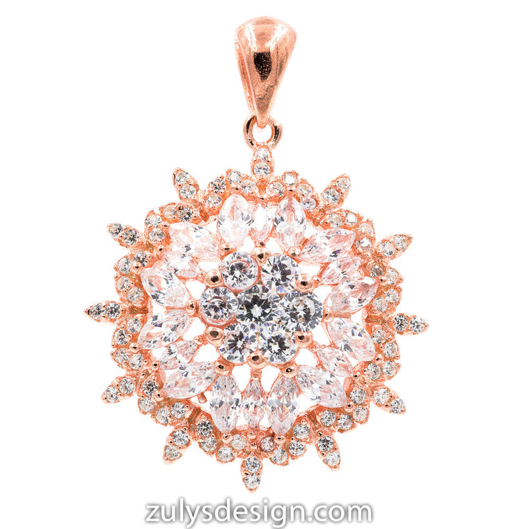 ZDP2114-RG STERLING SILVER 925 ROSE GOLD PLATED FLOWER DESIGN WHITE CZ PENDANT