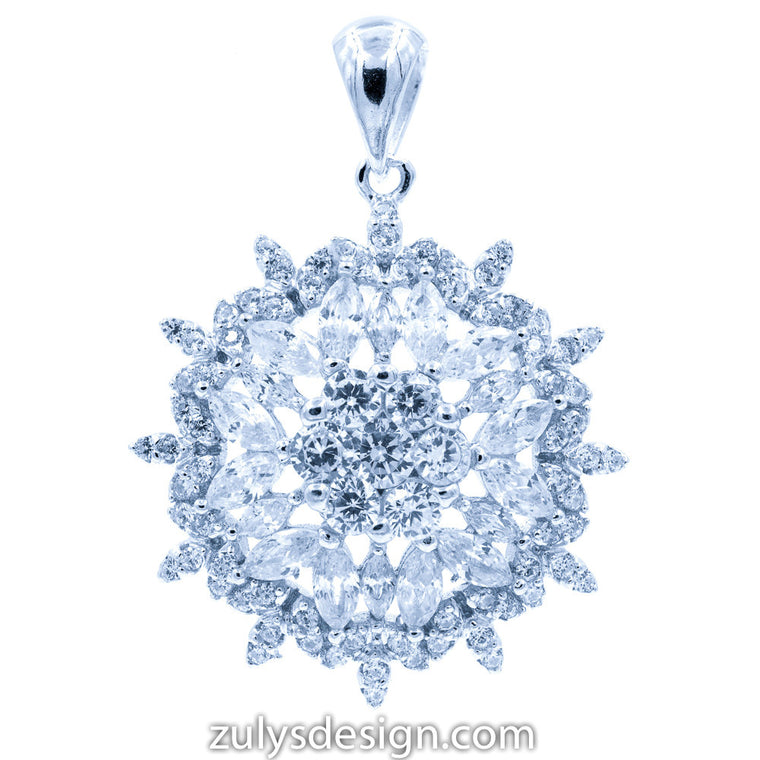 ZDP2114 STERLING SILVER 925 RHODIUM PLATED FLOWER DESIGN WHITE CZ PENDANT