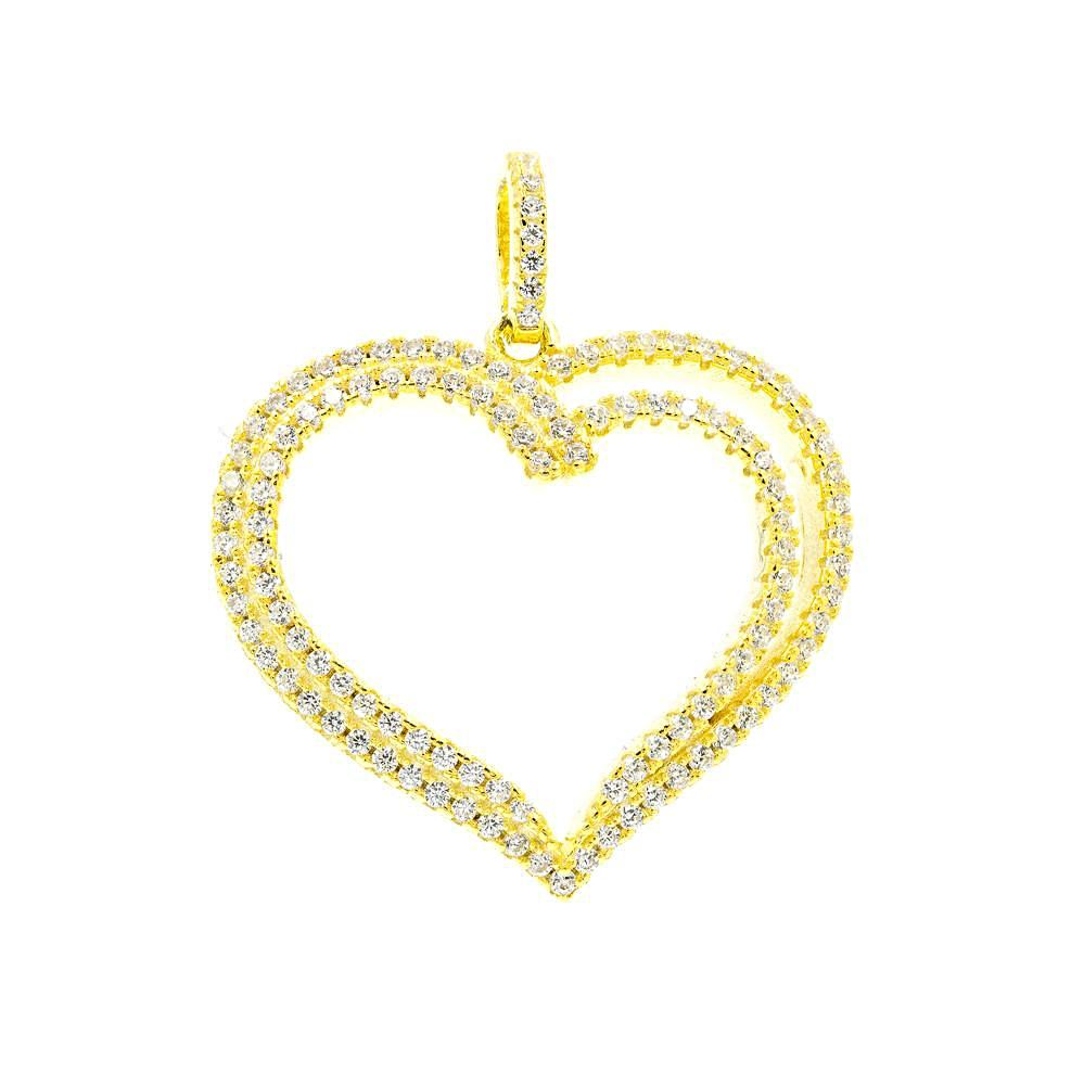 ZDP3013-G STERLING SILVER 925 GOLD PLATED HEART DESIGN PENDANT WITH CZ