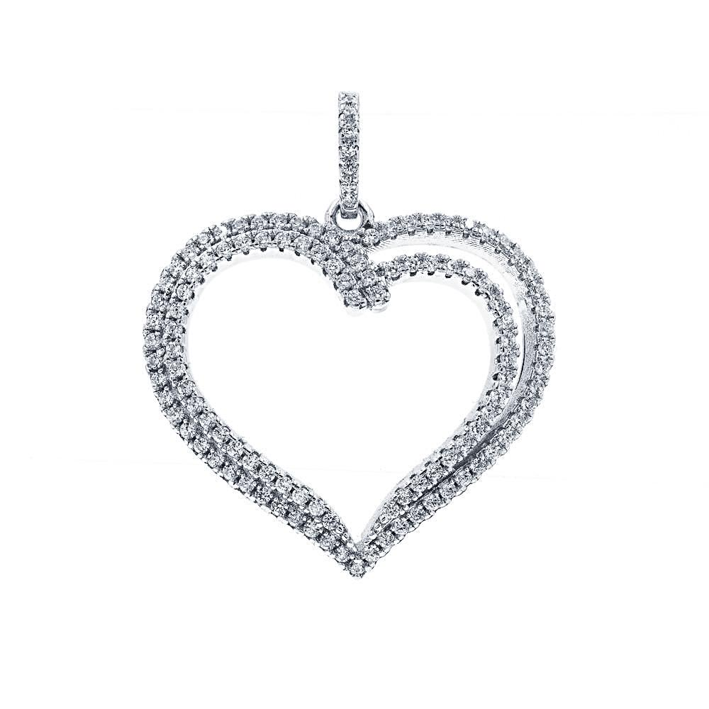 ZDP3013 STERLING SILVER 925 RHODIUM PLATED FINISH HEART DESIGN PENDANT WITH CZ
