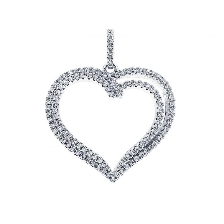 ZDP3013  STERLING SILVER 925 HEART DESIGN PENDANT WITH CZ