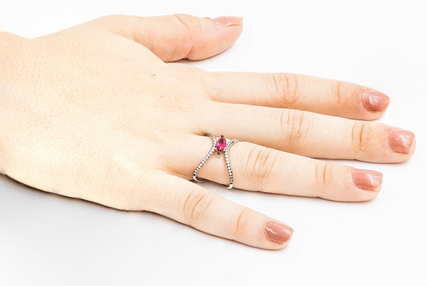 ZDR0497-RR  STERLING SILVER 925 RUBY COLOR CZ OPEN RING
