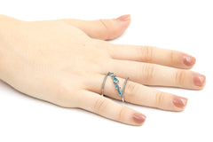 ZDR0546-RAQ  STERLING SILVER 925 AQUA CZ OPEN RING