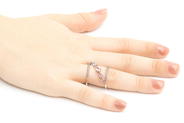 ZDR0546-RM STERLING SILVER 925 MORGANITE PINK COLOR CZ RING