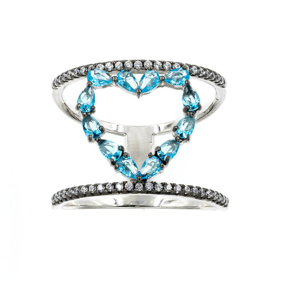 ZDR0570-RAQ  STERLING SILVER 925 HEART DESIGN CZ RING