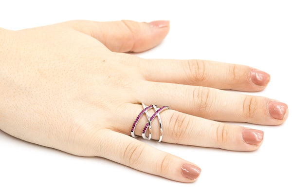 ZDR0583-RR  STERLING SILVER 925 DOUBLE X RUBY COLOR CZ RING