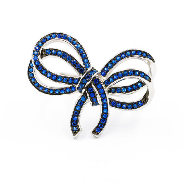 ZDR0764-RS STERLING SILVER 925  SAPPHIRE CZ BOW DESIGN RING