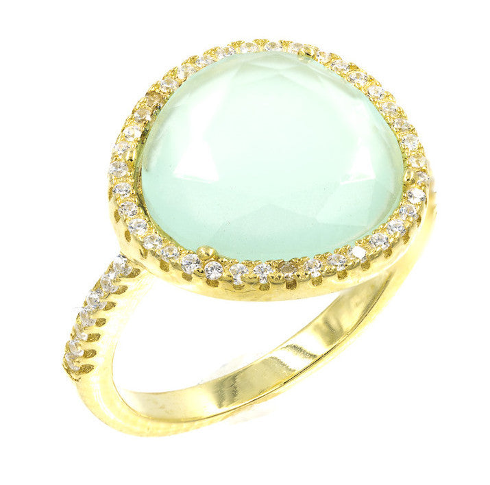 ZDR1522-G  STERLING SILVER 925 PRONG SETTING CHALCEDONY GOLD PLATED RING
