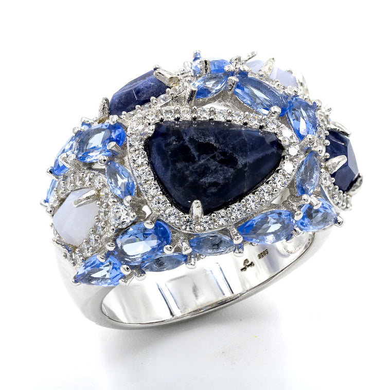 ZDR1959  STERLING SILVER 925 PRONG SETTING SODALITE RING