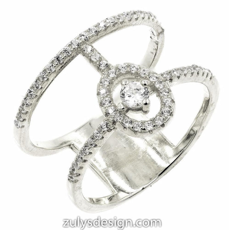 ZDR1979  STERLING SILVER 925 RHODIUM PLATED OPEN RING WITH CZ