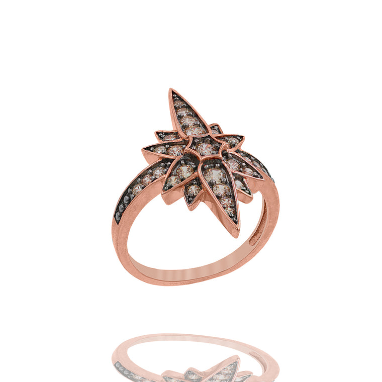 ZDR1991-RG  STERLING SILVER 925 ROSE GOLD PLATED STAR CZ RING