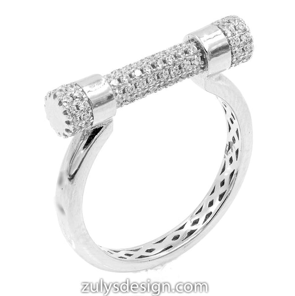 ZDR2081 STERLING SILVER 925 RHODIUM PLATED CLEAR CUBIC ZIRCONIA RING