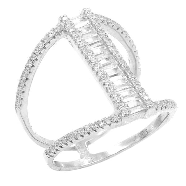 RI2123W STERLING SILVER 925 RHODIUM PLATED BAGUETTE CZ RING