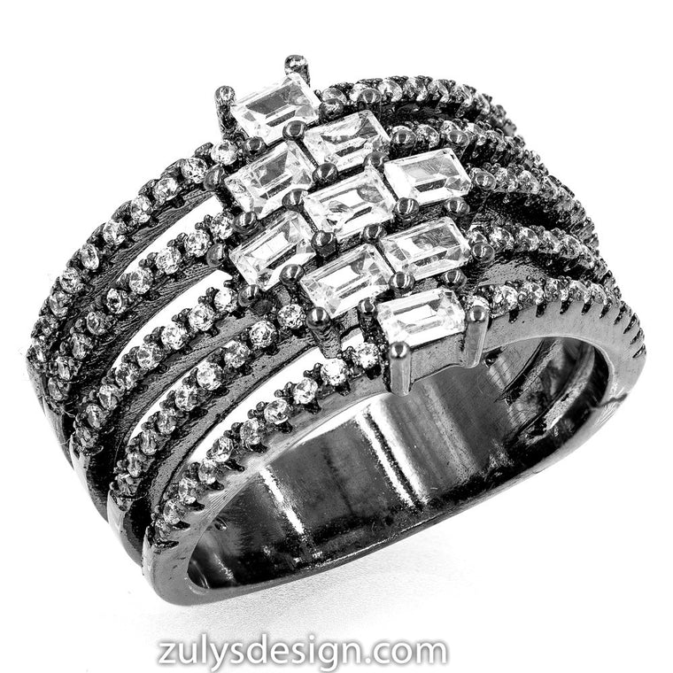 ZDR2124-BLK STERLING SILVER 925 BLACK RHODIUM PLATED CZ RING